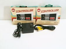 AC Adapter Power Cord + AV RCA Cables + 2 NES Controllers For Nintendo 8 bit NES