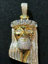 "14k Gold Finish .925 Silver 4.5ct Simulated Diamond Jesus Piece Pendant 1""x2"""