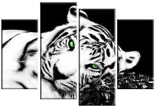 LARGE TIGER CANVAS ART PICTURE BLACK WHITE GREEN EYES SPLIT MULTI 4 PANEL 100cm