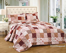 Traditional Patchwork Quilted Bedspread + 2 Pillow Shams Brown Double / King New