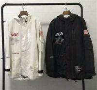 2018 NASA Mens Windbreaker Coat Lovers Black White Reflective Jacket Casual Wear