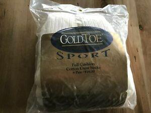 Vtg 6 Pr Full Cushion WHITE Gold Toe Cotton CREW SOCKS~ SPORT~~10-13~NIP