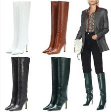 Occident Women Pointy Toe Knee Thigh High Stiletto Heel Pull On Boots Size 34-45