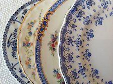 "Set 4 Vtg Mismatched China Dessert Cake Plates 6-6.75"" Blue & White Pink Accents"