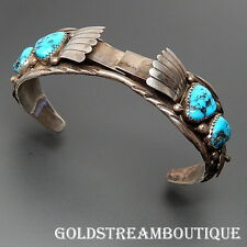 VINTAGE RICHARD RITA BEGAY NAVAJO STERLING SILVER TURQUOISE WATCH CUFF BRACELET