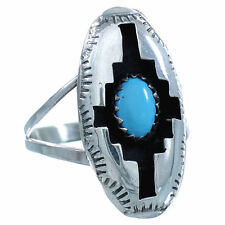 Native American Sterling Silver Navajo Turquoise Jewelry Ring Size 8-3/4 TX10309
