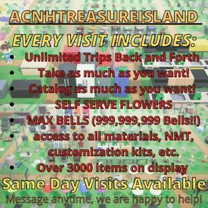 Animal Crossing Treasure Island 🌸NO WAIT! All Flowers Included🌼UNLIMITED TRIP