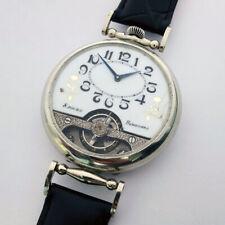 Rare Big Antique Marriage luxury  Swiss HEBDOMAS Wristwatch 8 Jours Enamel dial