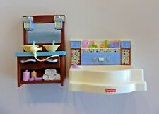Fisher-Price Loving Family Dollhouse Bathroom ~ Tub, Sinks, Vanity, Hair Dryer