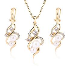 F-U 18K Gold Tone Crystal Necklace Drop Earrings Set Pearl Jewelry Set Wedding J