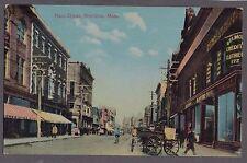 VINTAGE OLD MAIN STREET BROCKTON MASSACHUSETTS POSTCARD TROLLEY CLOTHING STORE