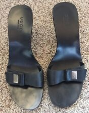 Gucci Black Sexy Open Toe Sandals Shoes Mules Silver Hardware