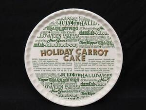 "Vintage 1983 11.5"" Holiday Carrot Cake Plate Royal China Company Ceramic White"