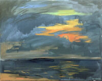 Cloud Ocean Sunset Seascape Impressionist Original Oil Painting Signed Art
