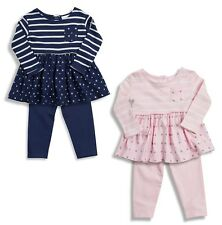 NEW BABY GIRLS LEGGINGS OUTFIT 0-3-6-9-12-18-24 MONTHS NAVY PINK STAR STRIPE