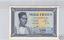 BANQUE DE LA REPUBLIQUE DU MALI 1 000 FRANCS 22.9.1960 PICK 4 TRES RARE !!