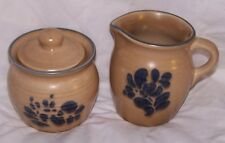 Pfaltzgraff Folk Art Creamer Pitcher Sugar Bowl w/Lid #022 #024 Colbalt Blue Tan