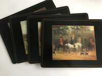 Pimpernel Cork Backed Placemats Set Lot of 4 - English Fox Hunting Black Border