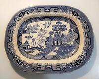 "Antique BUFFALO POTTERY 1909 Blue Willow Semi Vitreous 14"" Serving Platter"