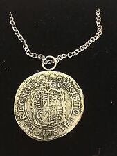 """Charles I Sixpence Coin WC50 Pewter On a 16"""" Silver Plated Chain Necklace"""