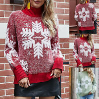 Womens Christmas Snowflake Thicken Sweater Ladies High Neck Jumper Top Blouse UK