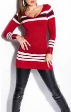 Sexy Red Long Slim Fit Knit Blouse Sweater w/ Black & White Stripe Detail 2217