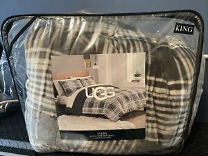 """UGG Coco King Size Blanket In Charcoal Gray 110""""x90"""" NEW"""