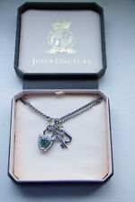 """NWT Juicy Couture Silver Shield & Key Necklace (Includes Original Box) """"J"""" Charm"""