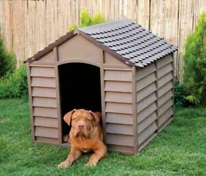 Garden Outdoor Dog Kennel Chocolate and Mocha Weatherproof Large Winter Shelter