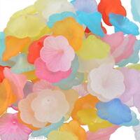300 Mix Matt Blumen Acryl Spacer Perlen Beads Zwischenteile 21x9mm