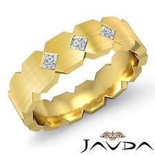 3 Stone Princess Diamond Mens Solid Ring Half Wedding Band 14k Yellow Gold 0.2Ct
