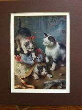Vintage Print Kittens & Birds On Hat At Play Double Matted