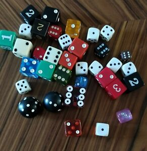 Vintage Dice Lot Large Small Multicolors 35 Piece Mixed Lot