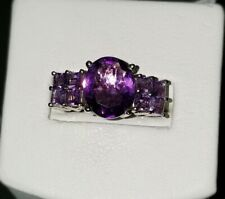 Ross Simons sterling silver 925 Oval princess cut Amethyst diamond ring