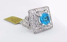 GENUINE 0.80 Cts BLUE TOPAZ & 1.02 Cts DIAMONDS RING 14k GOLD **Free Appraisal**