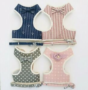 Small Dog Harness & Lead Coat Polka Dot Stripe Nautical Flower Sizes S-L