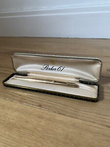 Vintage Parker 61 Gold Coloured Fountain Pen With Case