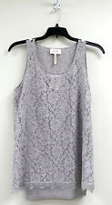 LAUNDRY by SHELLI SEGAL Gray Sheer Lace Blouse Top Sleeveless Small NWT $59 2b
