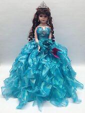 NEW Aqua 20 inch My 15 XV Anos Quinceanera Ruffle Porcelain Umbrella Muñeca Doll