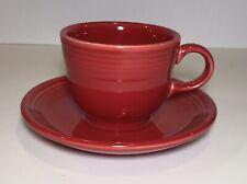 Fiestaware  Scarlet Red Tea Cup and Saucer - Homer Laughlin Fiesta Mug ~ New