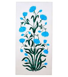 12''x6'' Turquoise With Malachite Floral Marble Floor Tile Inlay Home Decor M238
