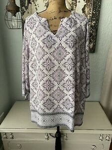 Cynthia Rowley Size 3X Lavender Print Lightweight Pullover Top NWT