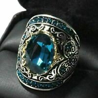 3 Ct Oval Blue Aquamarine Ring Women Wedding Jewelry Gift 14K White Gold Plated