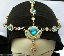 INDIAN MATHA PATTI HEAD JEWELLERY GOLD PLATED TURQUOISE CLEAR STONE NEW AQ/MP1