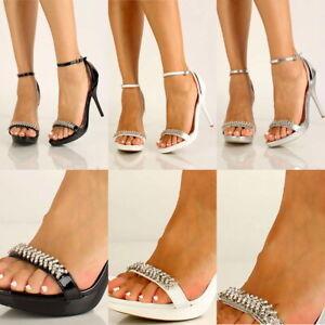 sexy Prom Wedding Open Toe Rhinestones ankle Strap High Stiletto Heels Sandals