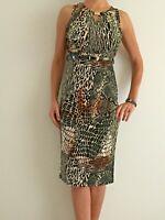 Women's Sleeveless Brown Animal Print Evening Cocktail Midi Shift Belted Dress