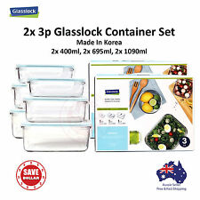 Glasslock 2x 3P Tempered Glass Food Container Storage Microwave Safe Gift Set