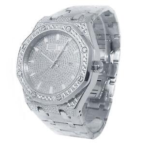 Full Stainless Steel White Bling Master Simulated Lab Diamond Wrist Watch Men's