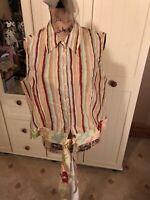 ROMAN Ladies Green Yellow Stripe Sleeveless Tie Waist Shirt Blouse UK Size 18