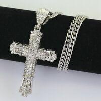 Crystal Cross Pendant Necklace 925 Sterling Silver Chain Women Jewellery Jesus